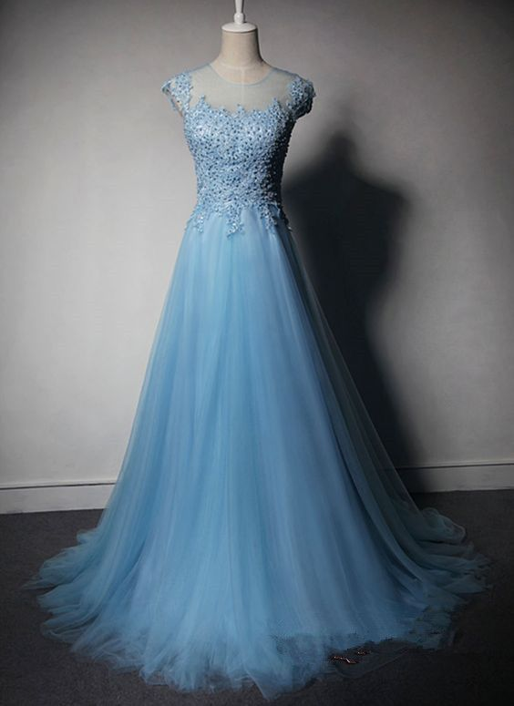 4e2445cbfce Custom Charming Baby Blue Prom Dress