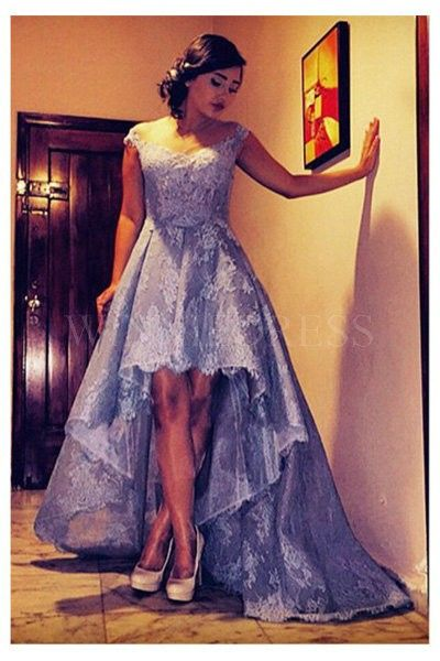 Prom Dress,Custom Made Lace Prom Dress,Beading Evening Dress,Off The Shoulder Party Gown,High-Low Pegeant Dress, High Quality Prom Dresses,High Quality Graduation Dress,Wedding Guest Dress