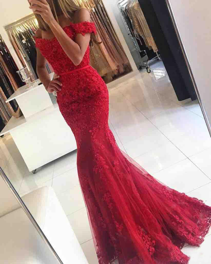 Formal Dress, Charming Prom Dress, Off the Shoulder Lace Prom Dress, Lace Red Mermaid Prom Dresses With Appliques, Tulle Prom Dress, Beaded Prom Dress, Floor Length Evening Gowns Formal Dress, High Quality Prom Dresses,High Quality Graduation Dress,Wedding Guest Dress