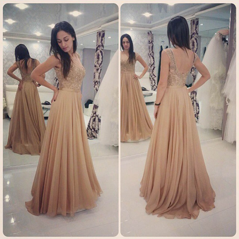 3e9a6d525f Glamorous Long Champagne Lace Prom Dresses Party Evening Gown Beaded  Chiffon Appliques Open Back Prom Dress