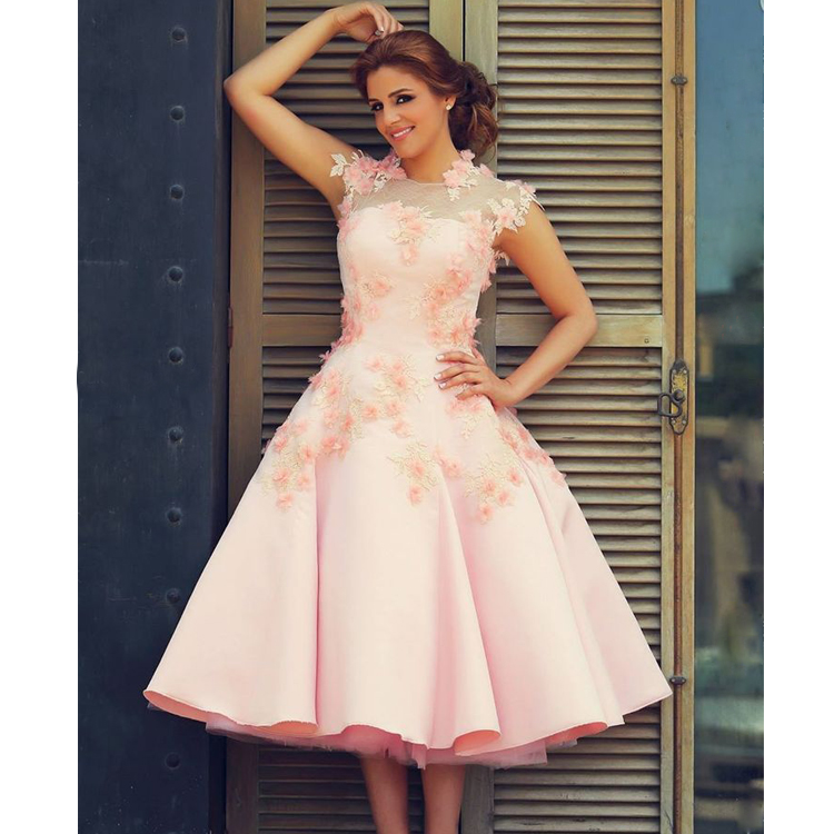 Simple Said Mhamad Prom Dresses High Neck Evening Pink Special Occasion