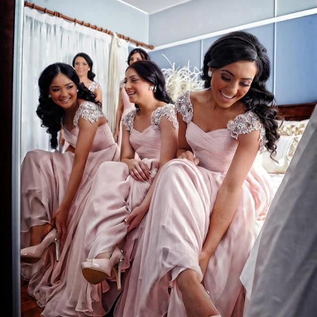 7ed033426dab Bridesmaid Dresses Cheap New Arrival A-Line Pink Sweetheart Cap Sleeves  Beads Long Bridesmaid Dress