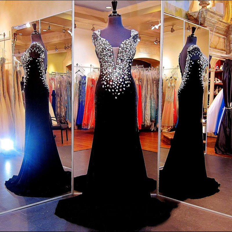 Prom Dresses, Custom Made High Quality Prom Dress,Black Beading Prom Dress,Beading Prom Dress,Short Sleeves Prom Dress