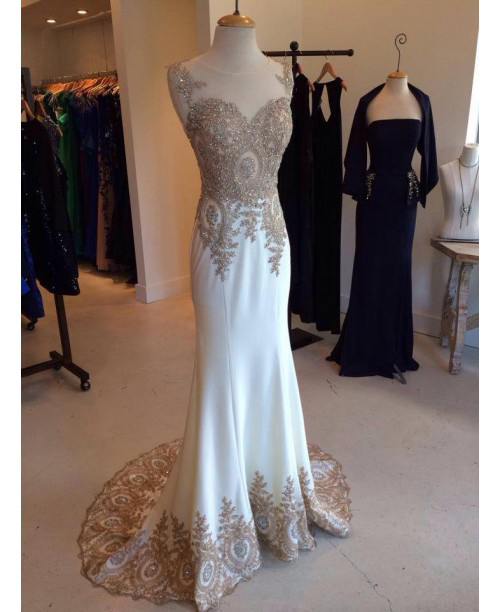 Formal Dress, long white prom dress, charming applique Prom Dresses, formal Evening Gown, mermaid prom dress,charming evening gown,Formal Dresses