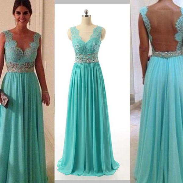 Chiffon Formal DressLace Prom DressesBlue DressModest Gown