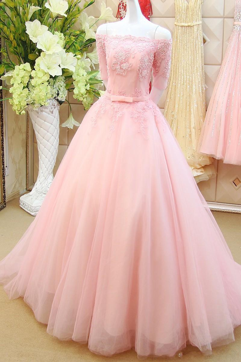 Pink Prom Dresses,off The Shoulder Prom Gowns,Pink Prom Dresses,Long ...