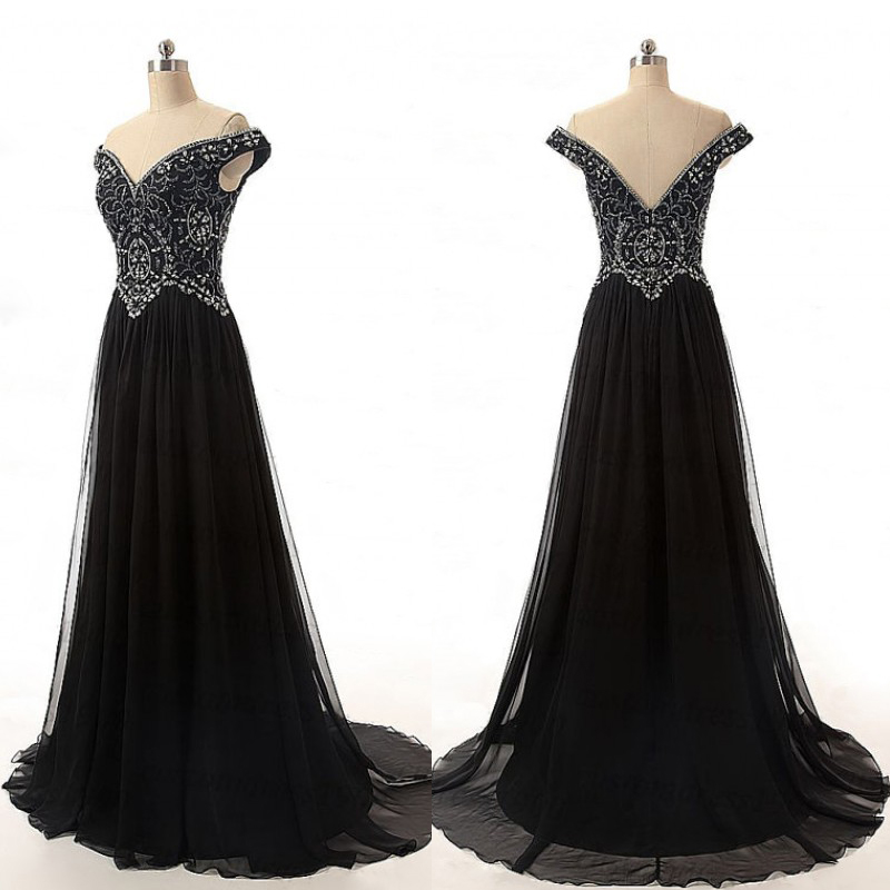 Charming Prom DressOff Shoulder DressBlack Evening DressBeading GownCocktail GownsLong Gowns For Teens Party DressWedding Guest