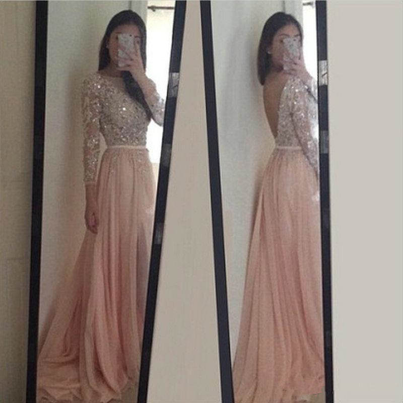 8759cc62925 Beautiful Long Sleeve Lace Appliques Beaded Backless Light Pink Prom Dresses