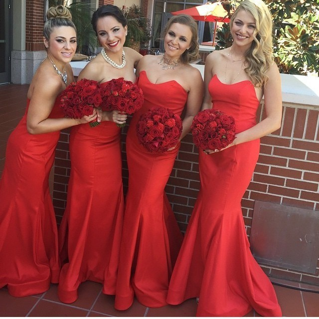Bridesmaid Dress Vestido De Festa Red Long Cheap Bridesmaid Dresses Under 50 Sweetheart Off The Shoulder Chiffon Wedding Party Dres Wedding Guest Prom