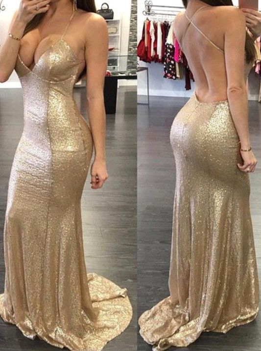 2557c5e89d030 Prom Dress,Sequins Mermaid Prom Dresses Sweetheart Spaghettis Straps  Backless Sexy Evening Gowns Gold Sequins Mermaid Party Cocktail  Dresses,Wedding ...