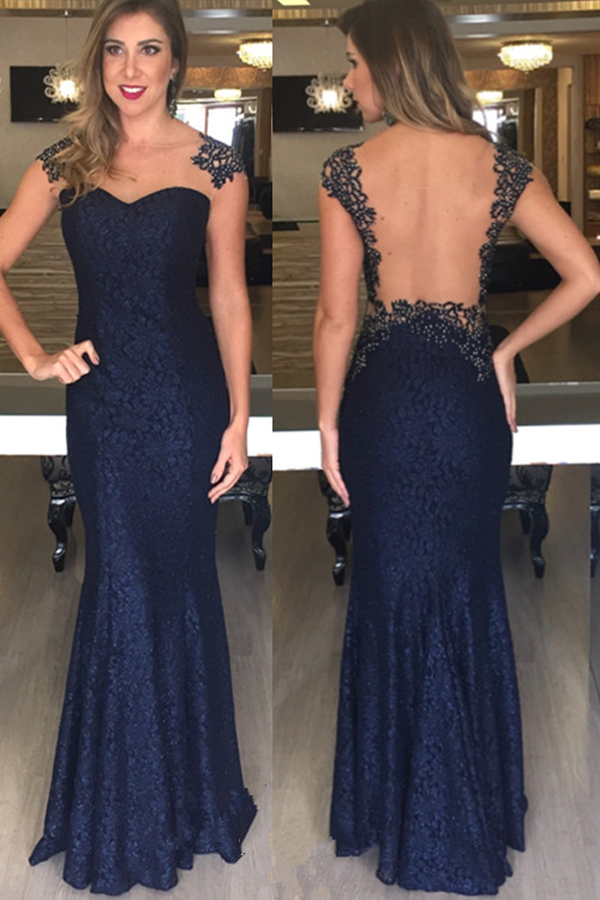 Prom Dress Mermaid Prom Dress Navy Blue Prom Dresses Long Prom Dresses Lace Prom Dresses Dark Blue Cap Sleeves Evening Dresses See Through Back