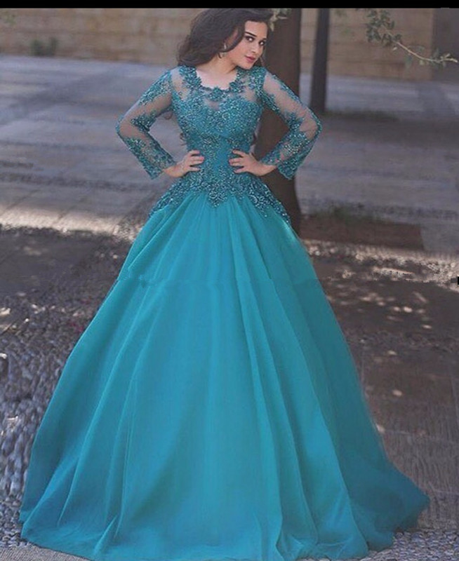 Prom Dress Sexy Long Sleeve Lace Muslim Evening Dresses Party For Wedding Women Dubai Turkish Arabic Formal Evening Gowns Dress Floor Length Prom