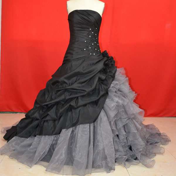 Prom Dresses, Custom Cheap Ball Gown Strapless Long Black Silver ...