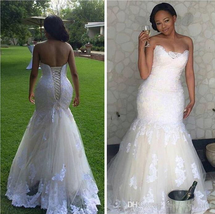 Wedding Dress, New Cheap White Lace Mermaid Wedding Dresses Plus Size  Bodice Corset Lace Up Back Sleeveless Wedding Gowns Sweep Train Bridal ...