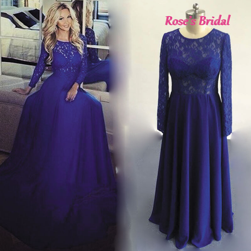 Prom Dress, Long Sleeve Blue Lace Prom Dress,A-Line Prom Dresses ...