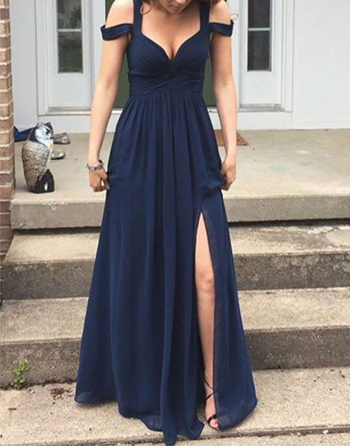 Off Shoulder Prom Dress Navy Blue Prom Dresses High Quality Graduation Dresses Wedding Guest Prom Gowns Formal Occasion Dresses Formal Dress