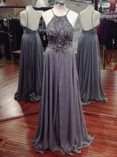 Spaghetti Straps Prom Dress,Grey Beaded Prom Dresses,Evening Dress,High Quality Graduation Dresses,Wedding Guest Prom Gowns, Formal Occasion Dresses,Formal Dress