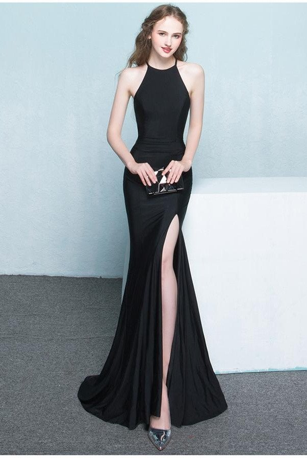 Beautiful Long Front Split Prom DressesCharming Simple Cheap GownsEvening GownsBlack Elegant DressHigh Quality Graduation DressesWedding