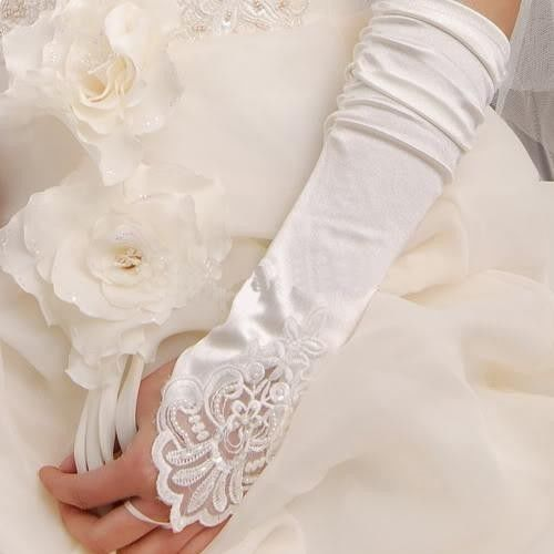 New White/ Ivory Satin Gloves,Lace Beads Fingerless Glove, Wedding Dress Bridal Gloves