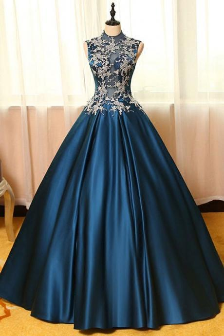 Blue satins prom dress,lace applique round neck see-through A-line long prom dresses,ball gown dresses