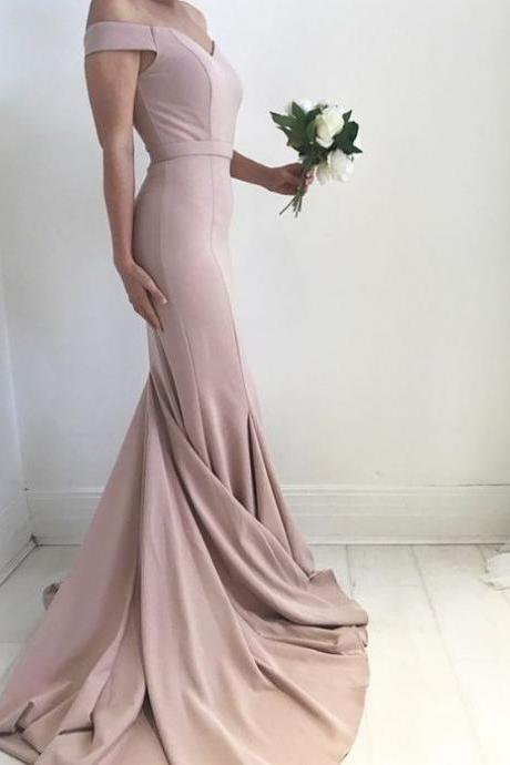 Blush Pale Pink Mermaid Off-Shoulder Sweep Train Long Prom Dress