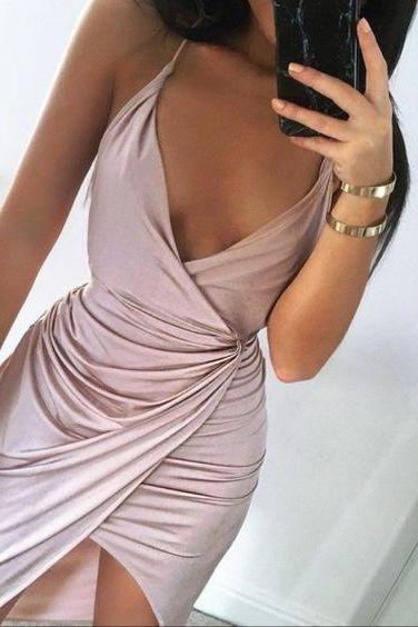 Blush Pink Prom Dresses,A-Line Prom Dress,Simple Prom Dress,Simple Evening Gowns,Cheap Party Dress,Elegant Prom Dresses,slit Formal Gowns For Teens