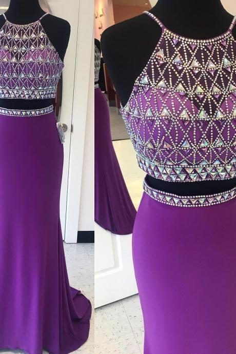 Mermaid Prom Dress, Purple Prom Dress, Long Prom Dress, Sexy Prom Dress, Two Pieces Prom Dress, Chiffon Prom Dress, Crystals Prom Dress,Party Dress,Evening Dress,Pageant Dress