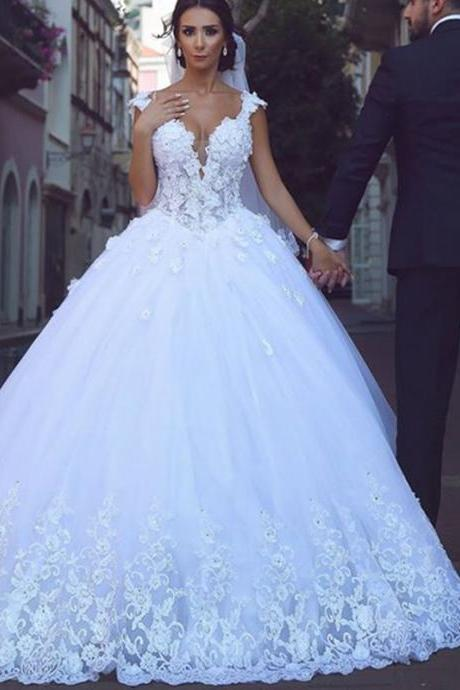 white lace cap sleeves sweetheart wedding dresses,tulle princess wedding gowns 2017