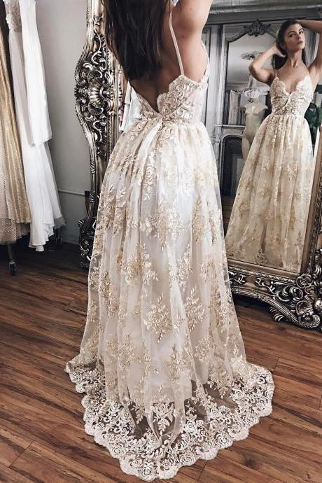 Ivory Outdoor Countryside Boho Beach Wedding Dress, with Champagne Appliques Wedding Dresses