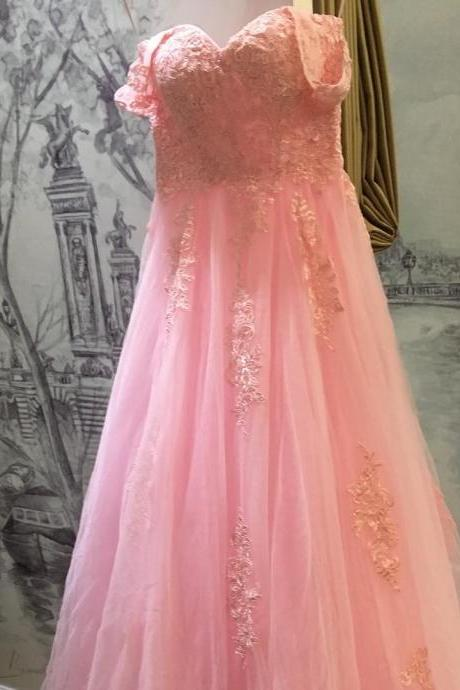 New Arrival Prom Dress,Modest Prom Dress,lace appliques sweetheart long tulle bridesmaid dresses 2017