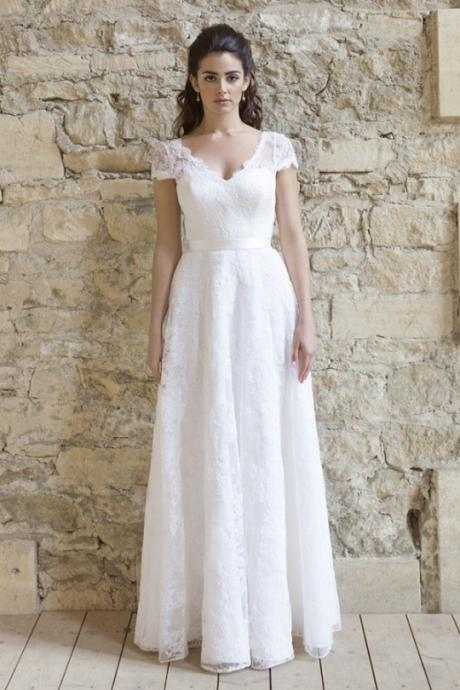 Lace Wedding Dress 2017, A Line Button Back Lace Bridal Gown Wedding Dresses