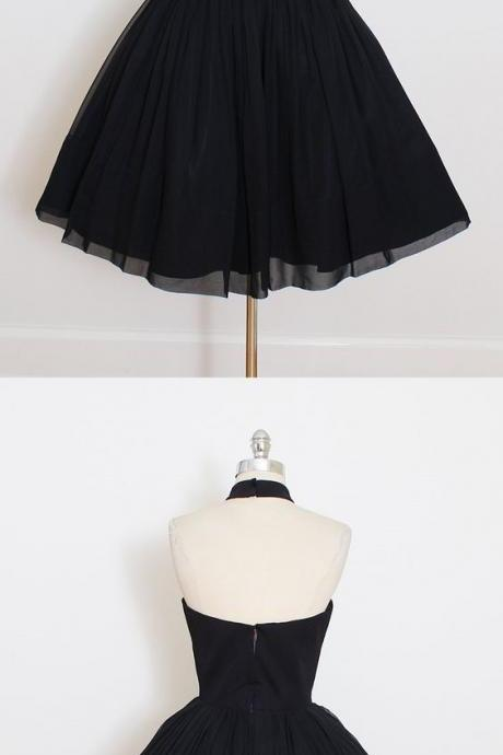 Black Chiffon Prom Dress,Halter Homecoming Dress,Short Mini Party Dress,High Quality