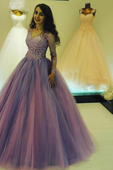 Cheap prom dresses ,Glitter Ball Gown Prom Dresses with Long Sleeves V neck Elegant Long Party Gowns for Special Occasion Bling Lace Appliques Princess Prom Dress