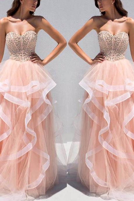 Sweetheart Prom Dress,Beaded Top Prom Dresses, Sweet Organza Prom Dresses, Fashion Prom Gowns