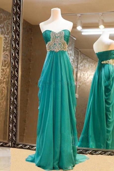 High Quality Chiffon Sweetheart Blue-Green Floor Length Prom Dresses With Beadings, Long Prom Dresses, Handmade Formal Dresses