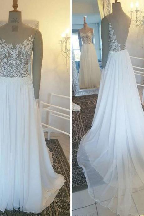 White wedding dress,A-line Princess Appliqued Lace Sweep Train Prom Dresses V-neck wedding Dresses