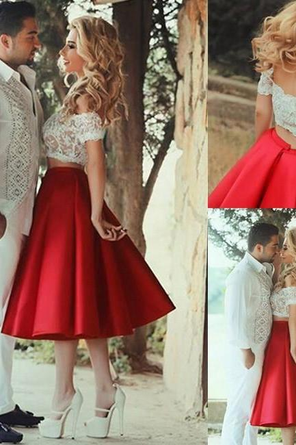 Sexy Two Piece Prom Dress -Red A-Line Off-the-Shoulder with appliques