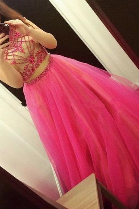Fuchsia Two Piece Prom Dress, Red Ball Gown Beaded Prom Dresses