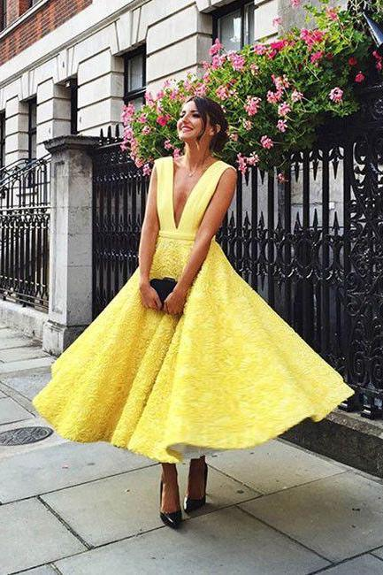 yellow homecoming dresses,homecoming dresses,prom,prom dress,tea length homecoming dress