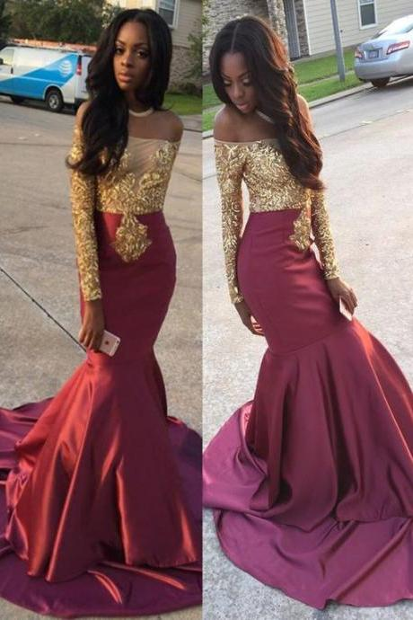 Gorgeous mermaid Prom Dress,Long Sleeve Burgundy Prom Dresses, With Lace Appliques modest off the shoulder evening gowns