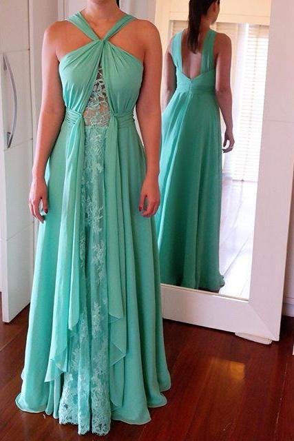 Long Prom Dresses ,Green Prom Gowns, Beading Prom Dresses