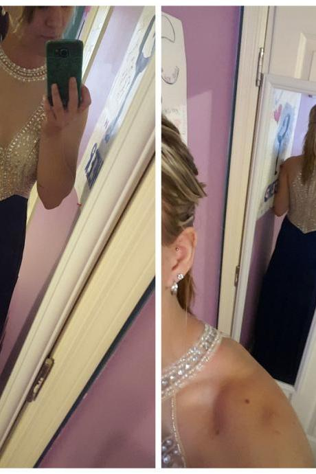 Long Beaded Bodice prom dresses,evening gowns,navy blue prom gowns,blue prom gowns,new style fashion prom gowns