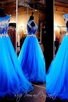 prom dresses,sparkle evening gowns,sparkly prom gowns,evening dress,Tulle party gowns,royal blue prom gowns