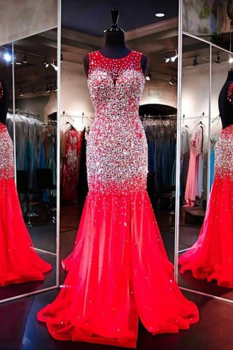 New Arrival Long Red Prom Dresses,Red Prom Dress,Prom Dress,mermaid tulle Evening Dress,Women Dress