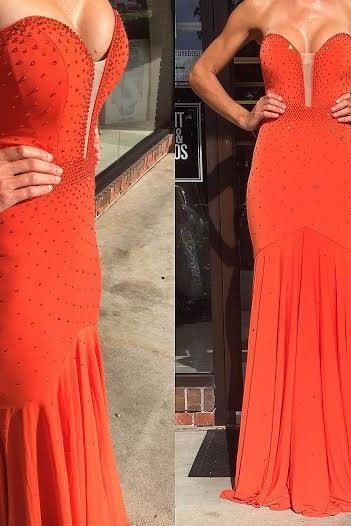 Simple Prom Dress,Prom Dresses,Mermaid Long Evening Dresses Red Backless Sweep Train Beading Sweetheart Formal Dresses Prom Party Gowns
