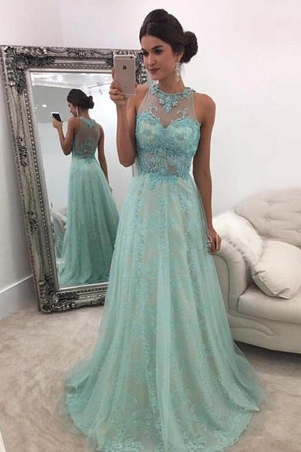 Prom Dresses,Prom Gown,Aqua Prom Dress, Lace Prom Dress,Prom Dress See-Through, Prom Dress Long,Formal Dress,Evening Dress,Custom Plus size