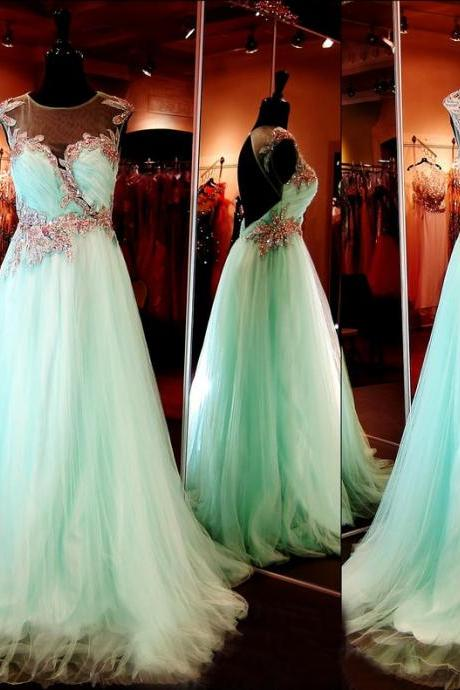 Cap Sleeves Prom Dress,Open Back Beaded Tulle Long Aqua Prom Dresses, Prom Gowns, Dresses for Prom, Prom Dress , Affordable Prom Dress, Junior Prom Dress,Formal Evening Dresses Gowns, Homecoming Graduation Cocktail Party Dresses, Holiday Dresses, Plus size