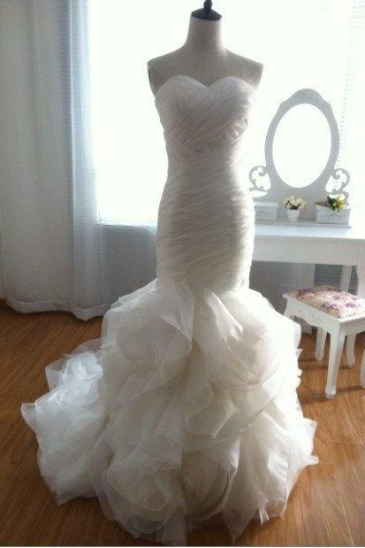 New Arrival White Wedding Dress Bridal Gown,Mermaid Bridal Gowns,White Wedding Dress, Modest Mermaid Wedding Dresses