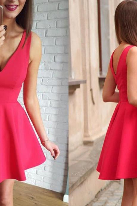 Backless Homecoming Dresses, Open Back Homecoming Dresses,Simply Short Red Homecoming Dress Party Dress
