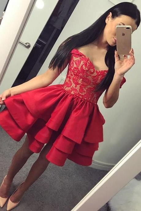 Off Shoulder Homecoming Dresses,Sweetheart Homecoming Dresses,Off the shoulder Short Red Homecoming Dress Party Dress